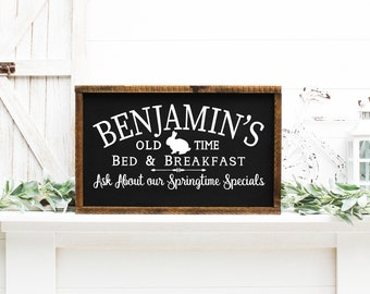 Easter Wood Sign, Benjamins Old Time Bed And Breakfast Painted Wood Sign, Easter Decor 22726