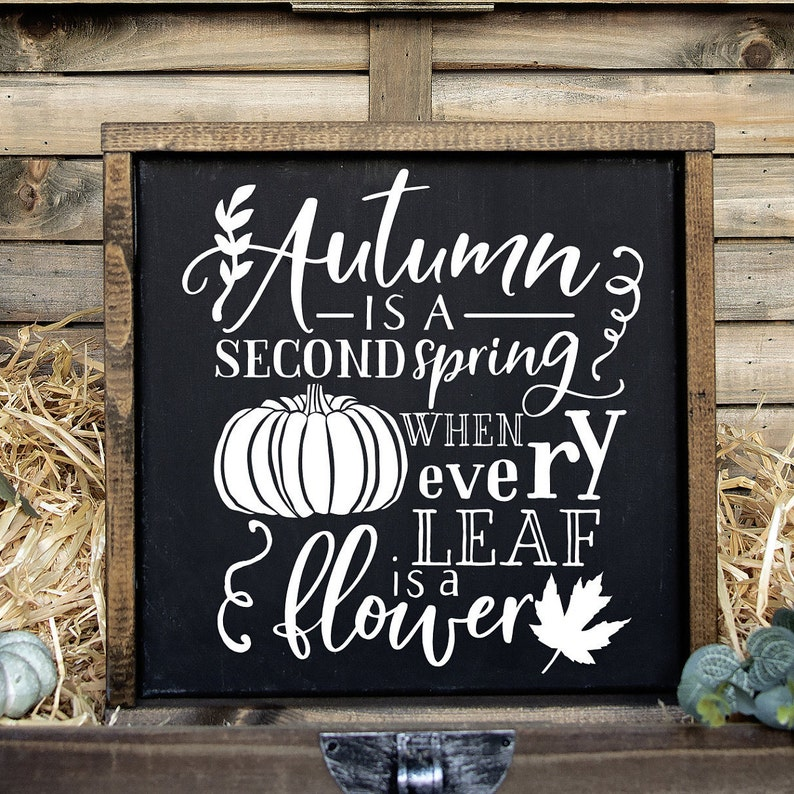 Framed Fall Sign Autumn Is A Second Spring When Every Leaf Is image 0