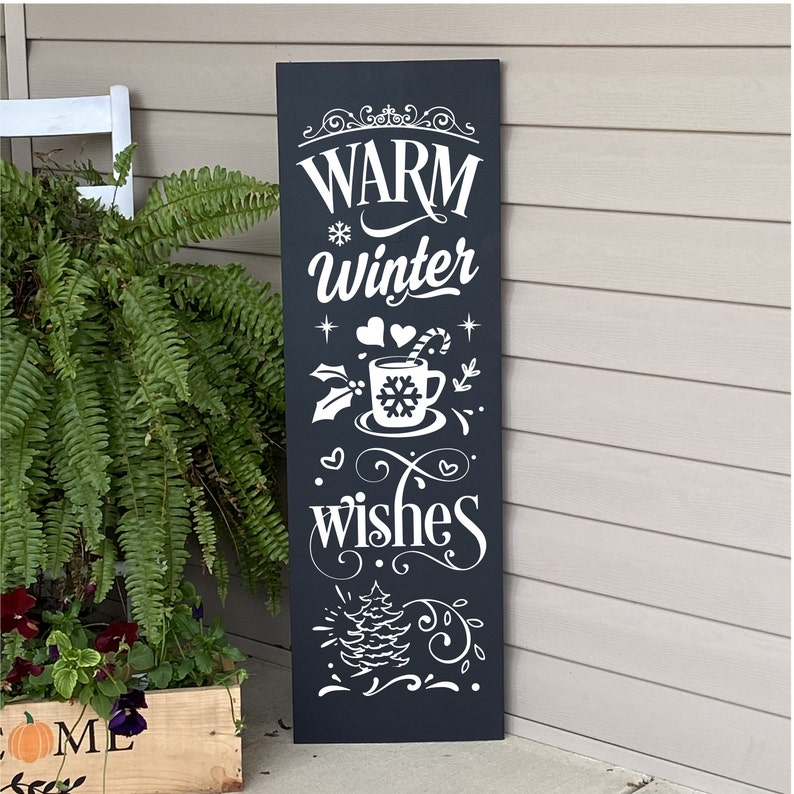 Winter Porch Sign Warm Winter Wishes Christmas Sign Welcome image 0