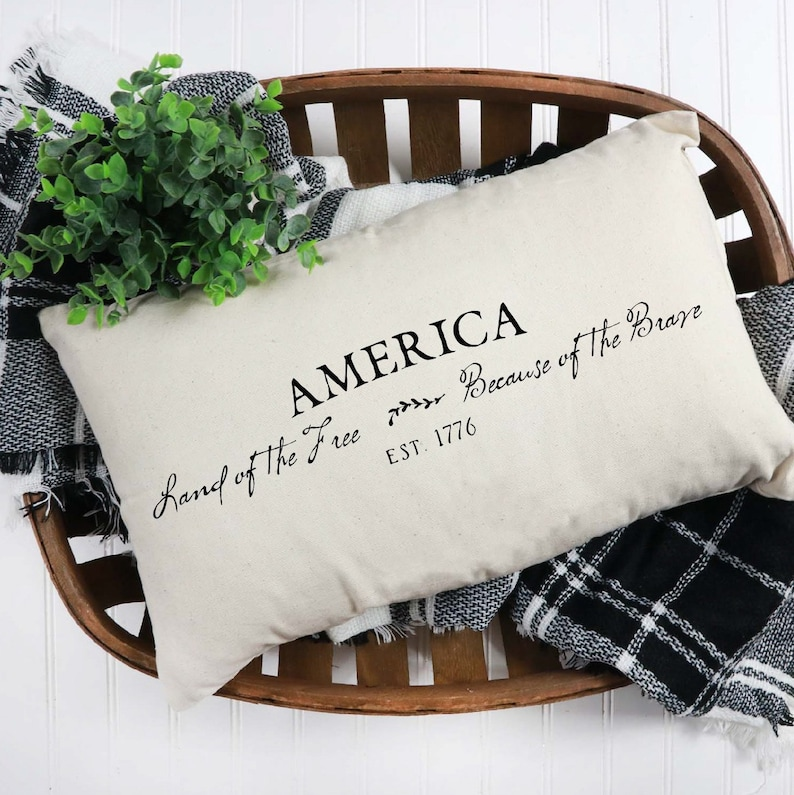 Throw Pillow Cover  America Land Of The Free Because Of The image 0
