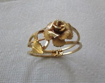 Vintage Giovanni Gold Rose Cl&er Cuff Bracelet - Flower Bracelet - Bangle Costume jewelry designer jewelry & Giovanni jewelry   Etsy