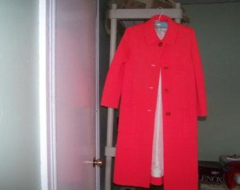 Vintage 1950's Bright Pastel Red Sweater Dress Coat by Sebastian