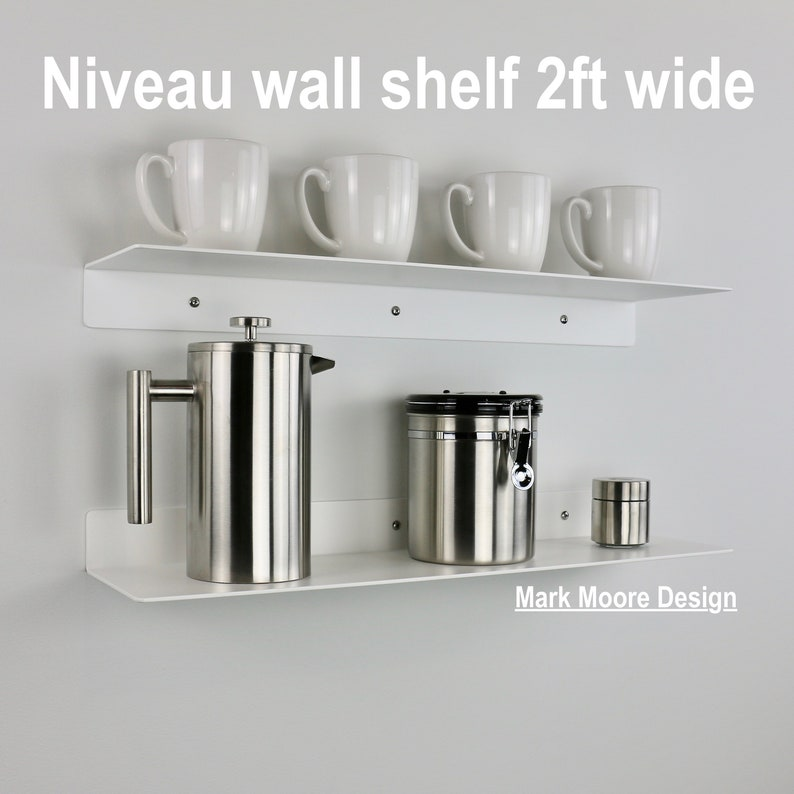 Metal Wall Shelf, White, Floating, Modern, Wall Shelves, Aluminum, Home,  Bathroom, Kitchen, Decor, Office, Open, Liquor, Wine, Storage, Cafe