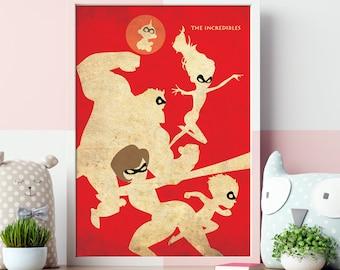 Pixar The Incredibles Vintage Minimalist Poster - Pixar Movie Poster Print, Kid Nursery Print, Kid Room Decor, Kid Room Idea, Kid Wall Art