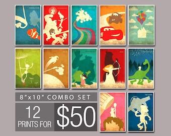 "FREE SHIPPING Pixar Vintage Poster Set - 12 Art Prints for 50.00  (8""x10"")"