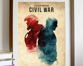 Vintage Captain America Civil War Movie Poster Print