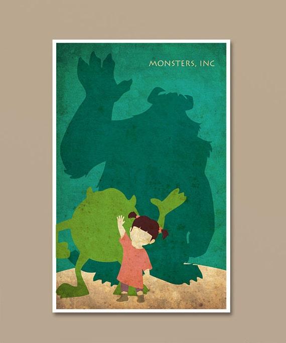 Pixar Monsters Inc Vintage Minimalist Movie Poster Print