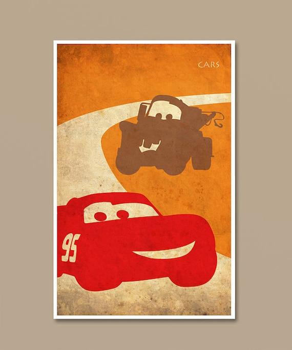 Pixar Cars Vintage Minimalist Movie Print Pixar Art Print Etsy
