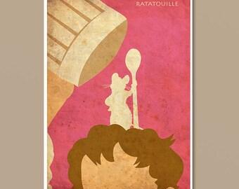Pixar Ratatouille Vintage Minimalist Poster - Movie Poster Print