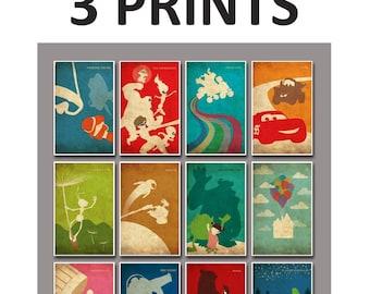 Pixar Vintage Poster for Nursery and Kids Room Decor - Set of 3 prints