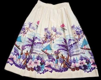 1950s Novelty Print Skirt Island Tropical Tiki 26 waist