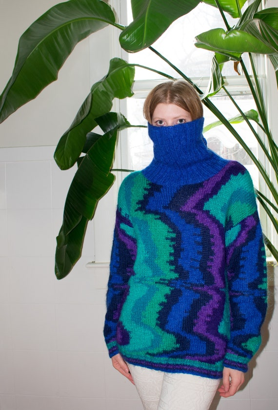 80s Psychedelic Mohair Cowl Neck Sweater
