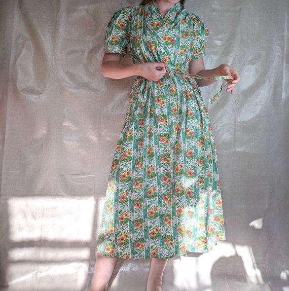 Plus Size 1930s 40s Floral Cotton Wrap Dress House Dress Dressing Gown