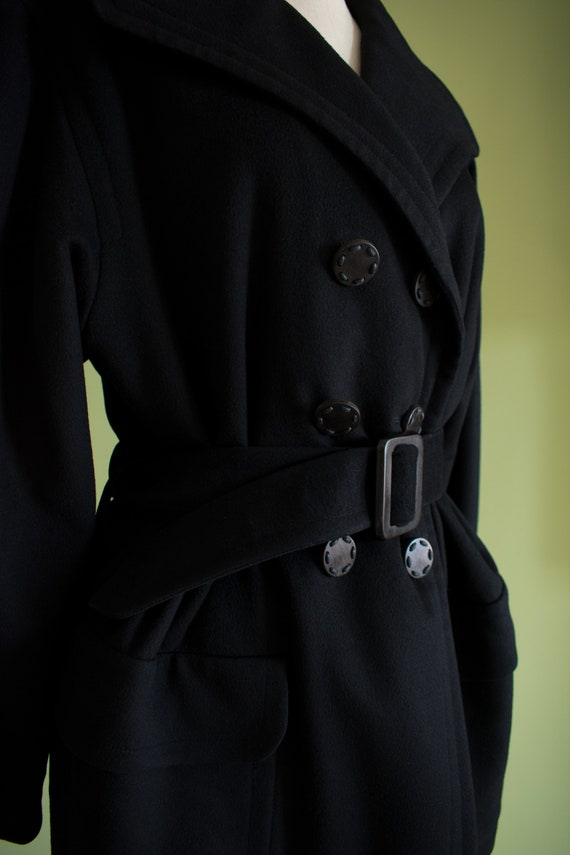 1990s YSL Black Cashmere Wool Belted Coat (RW) - image 2