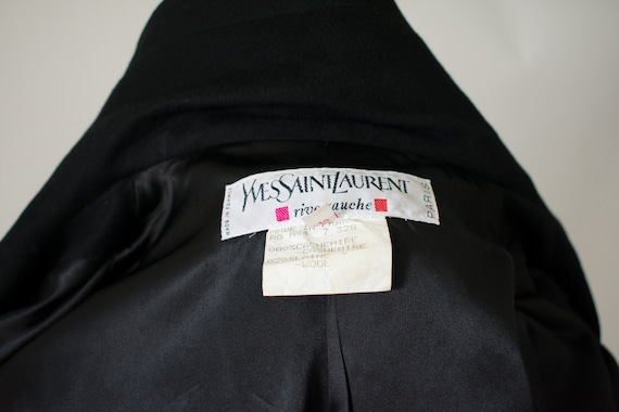 1990s YSL Black Cashmere Wool Belted Coat (RW) - image 3
