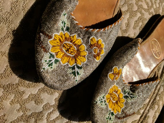 1940s Chinese Beaded Slippers  Wing On Co Shanghai