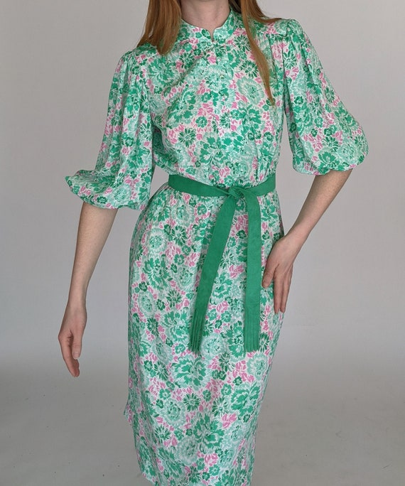 80s Floral Balloon Sleeve Dress by Nat Kaplan