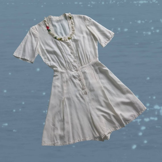 1940s White Rayon Shorts Romper Pleated Button Up