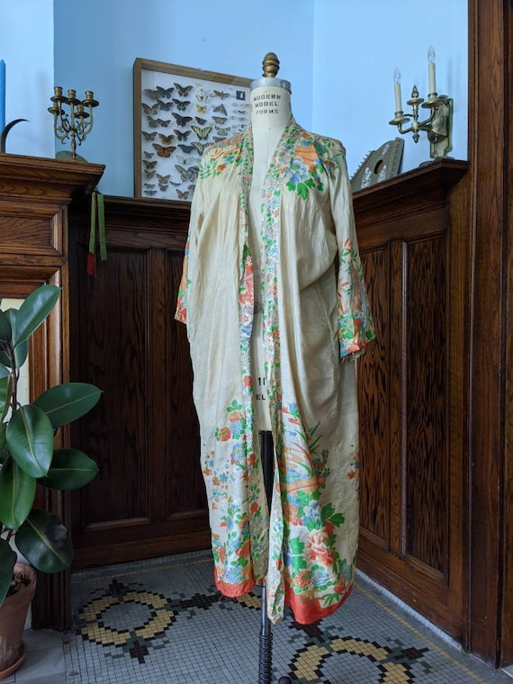 Rare 1920s Pongee Silk Robe Free Size - image 2