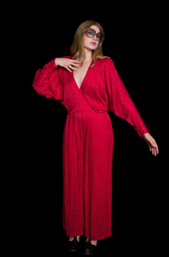 1980s Lillie Rubin Jumpsuit Cherry Red Silk Draped