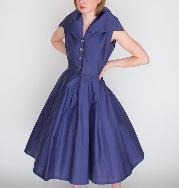 1950s Koret of California Dress Dark Periwinkle La