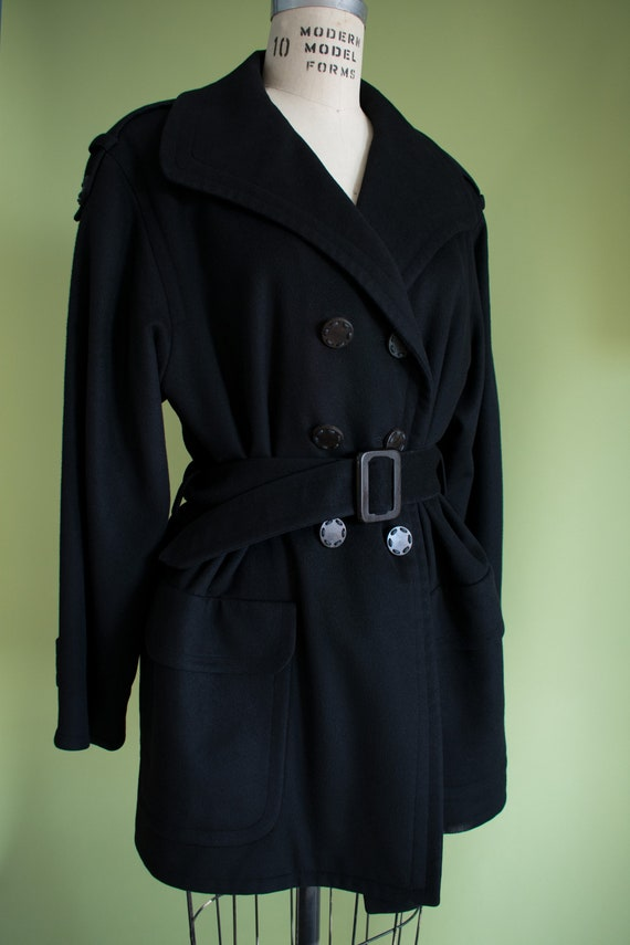 1990s YSL Black Cashmere Wool Belted Coat (RW) - image 1