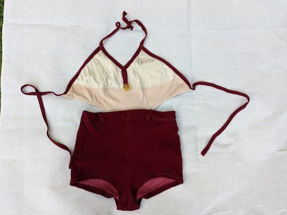 1930s Wool & Cotton Knit Swimsuit Medium