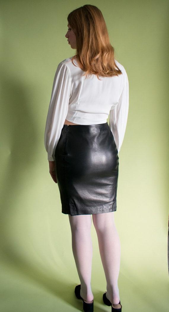 Vintage Gianni Versace Leather Mini Skirt 1990s Si
