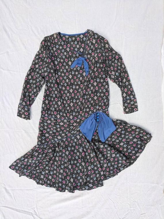 1920s Printed Dress Ikat Eyeball Mushroom Medium