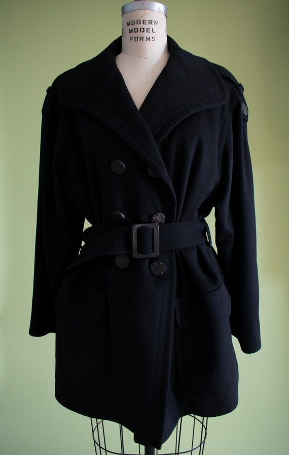 1990s YSL Black Cashmere Wool Belted Coat (RW) - image 4