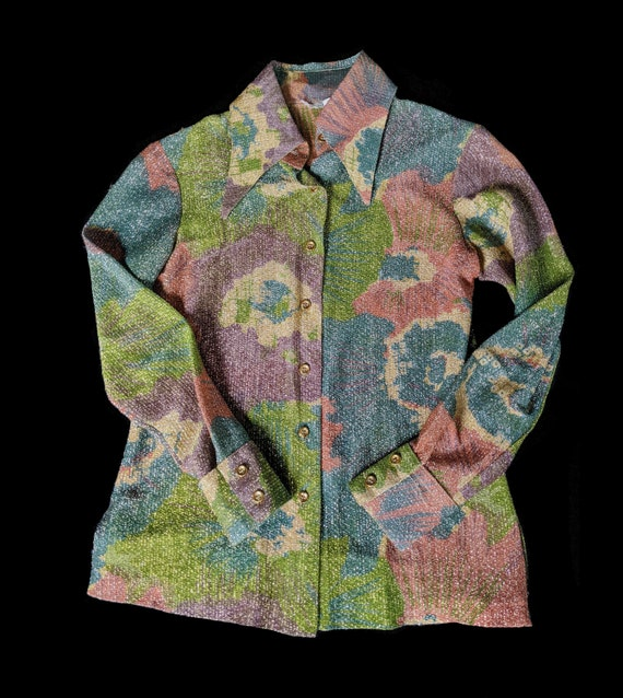 1960s 70s Floral Lurex Blouse by Youth Guild Small