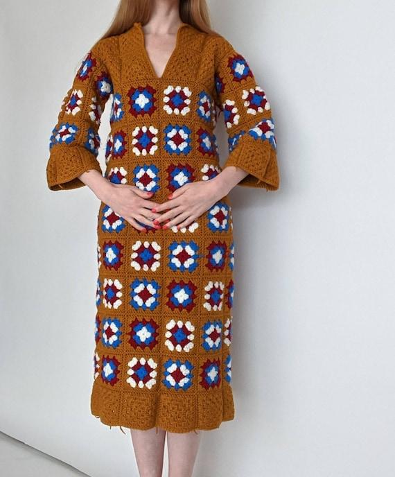 1960s 1970s Crochet Granny Square Dress - small to