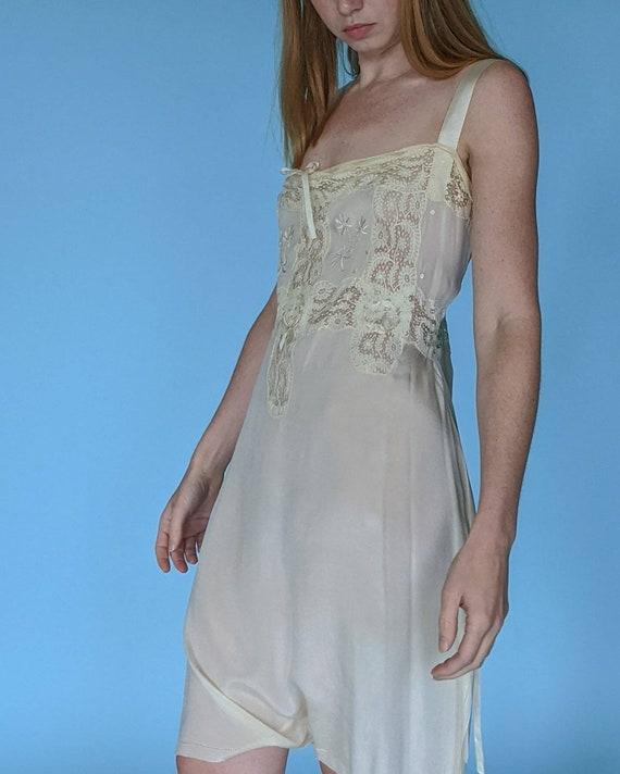 Ethereal 1920s Silk Step In with Lace panels Side