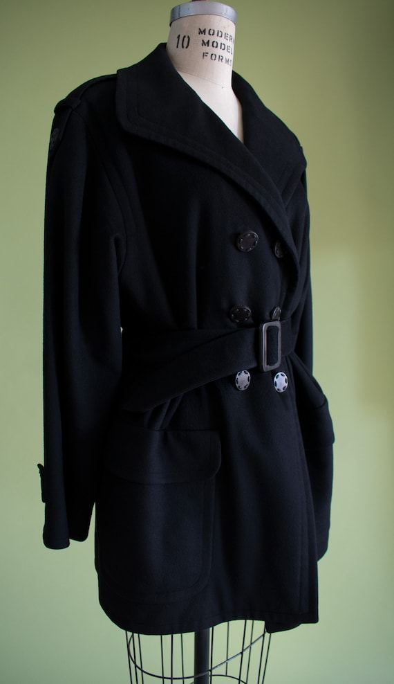 1990s YSL Black Cashmere Wool Belted Coat (RW) - image 7