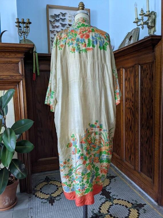 Rare 1920s Pongee Silk Robe Free Size - image 3