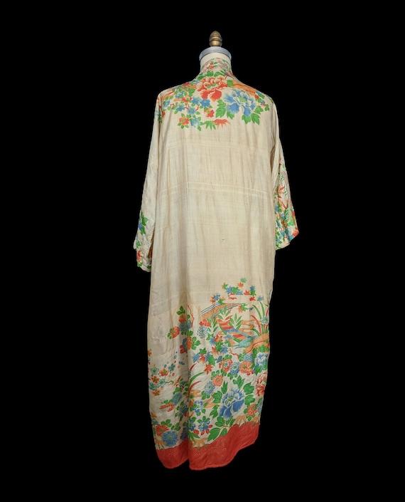 Rare 1920s Pongee Silk Robe Free Size