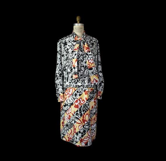 1960s 70s LANVIN Op Art Psychedelic Print Dress Me