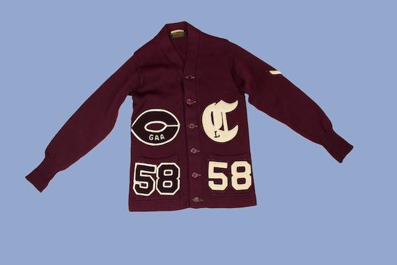 Ladies 1950s Varsity Sweater Wool Cardigan 58 Smal
