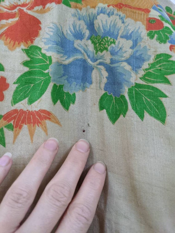 Rare 1920s Pongee Silk Robe Free Size - image 8