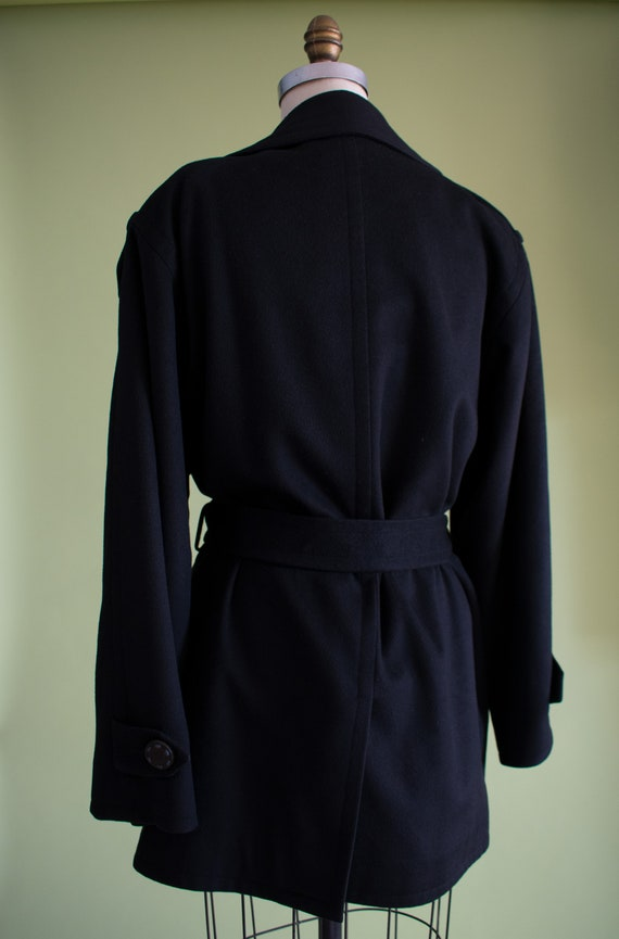 1990s YSL Black Cashmere Wool Belted Coat (RW) - image 6