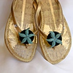 Cruise Wear, Flip Flop Wraps, Aqua Starfish, Removable, Flexible, Versatile, Shoe Clips, Sandals, Scarves, gift under 20