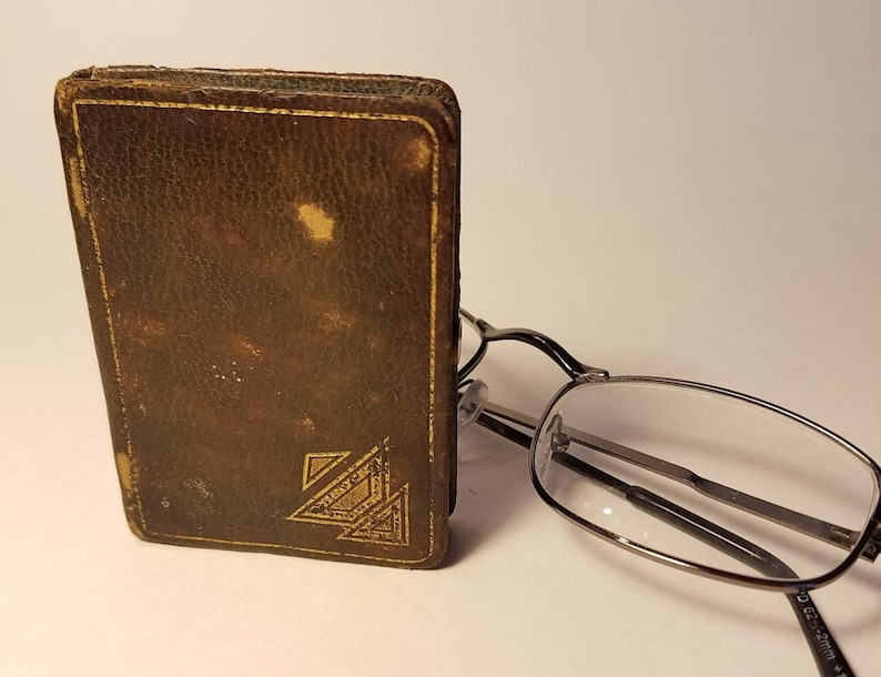 Leather Copper Brass Art Deco Leather Compact Book