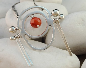 Carnelian Quartz Necklace, Handmade, Solid Sterling Silver