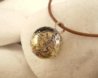 "Sterling Silver & K18 Gold Pendant  - ""Sphere"""