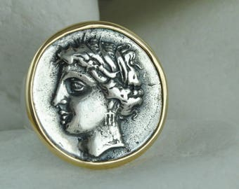Ancient Greek Coin Ring, Goddess Persephone - Solid Sterling Silver and 14K Gold - FREE Shipping