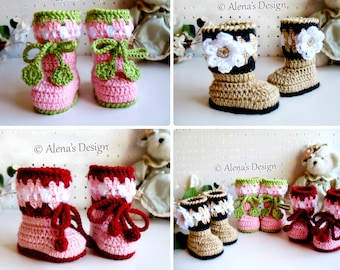 Crochet Pattern Baby Booties Blossom Booties Cherries Booties Crochet Booties with Flower Slippers Baby Girl Baby Shower Gift Christmas