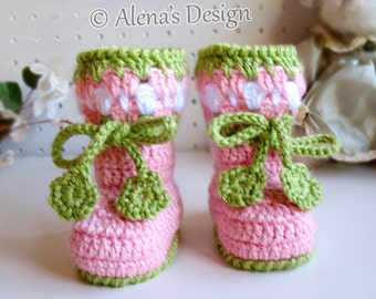 Crochet Pattern Blossom Baby Booties Cherries Booties Crochet Booties with Flower Slippers Baby Girl Baby Shower Gift Christmas Crochet