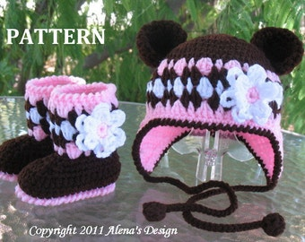 e349b185af6 Crochet PATTERN Set - Bear Hat and Baby Booties - Baby Girl - Children -  Winter Hat - Bear Ears - Girls Hat - Baby Booties with Flower