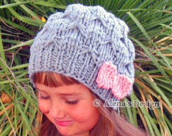 Knitting Pattern 095 Slouchy Beanie Hat with Pink Bow Knitting Patterns  Knitting Hat Toddler Child Teen Adults Girls Ladies Women Grey Knit 6f266e10c0