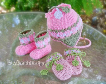8ce43b41348 Crochet PATTERN Set Blossom Hat Baby Booties Baby Thumb-less Mittens Crochet  Patterns Baby Girl Toddler Children Ear Flap Hat Pink Booties